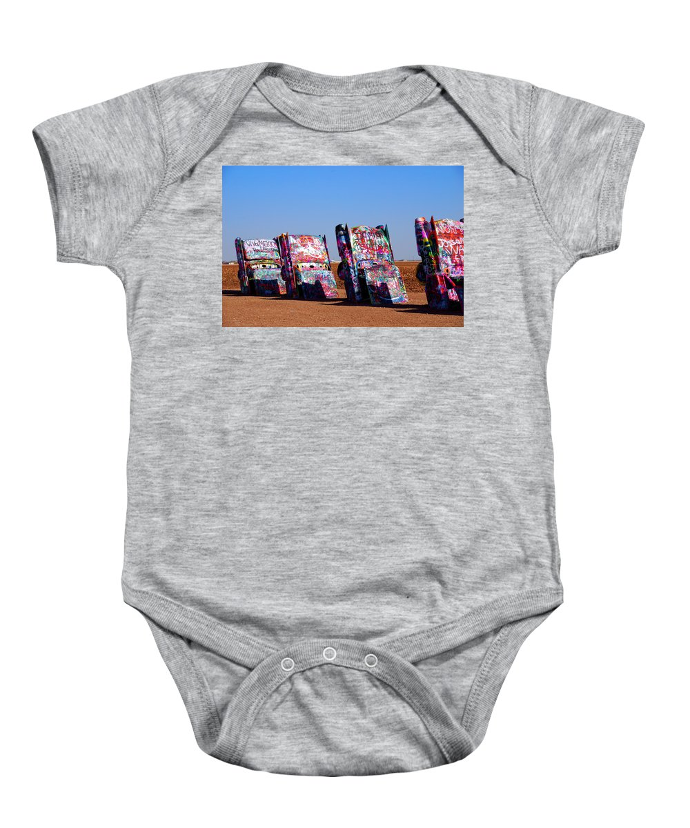 Photography Baby Onesie featuring the photograph Cadillac Ranch by Susanne Van Hulst