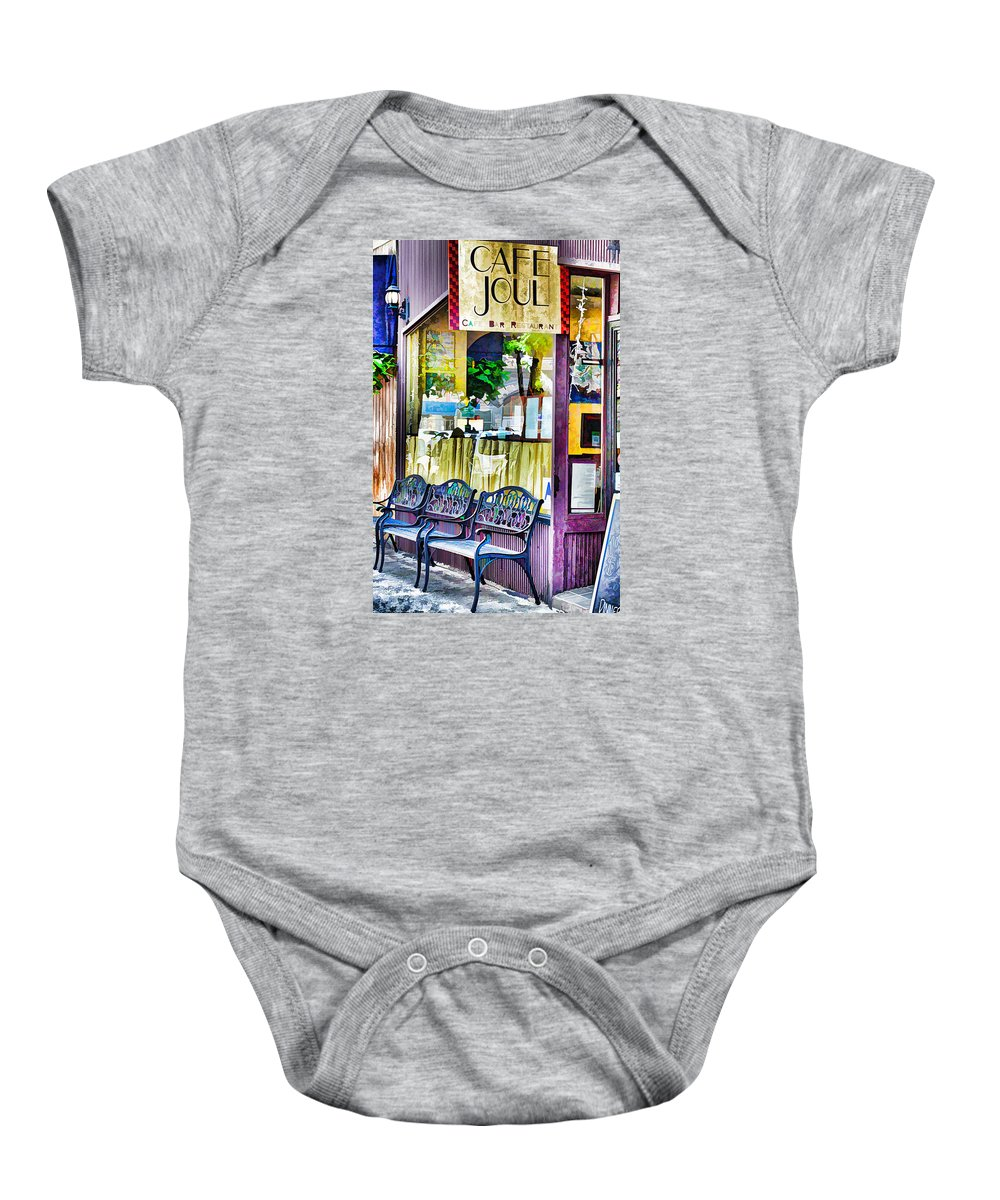 Cafe Joul Baby Onesie featuring the painting Cafe Joul by Jeelan Clark