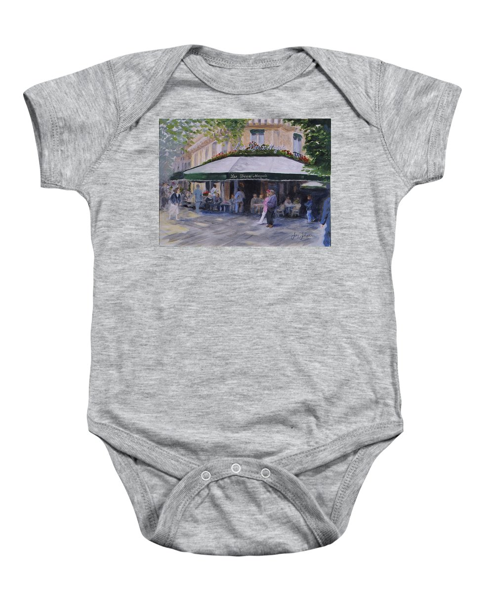 Cafe Magots Baby Onesie featuring the painting Cafe Magots by Jay Johnson
