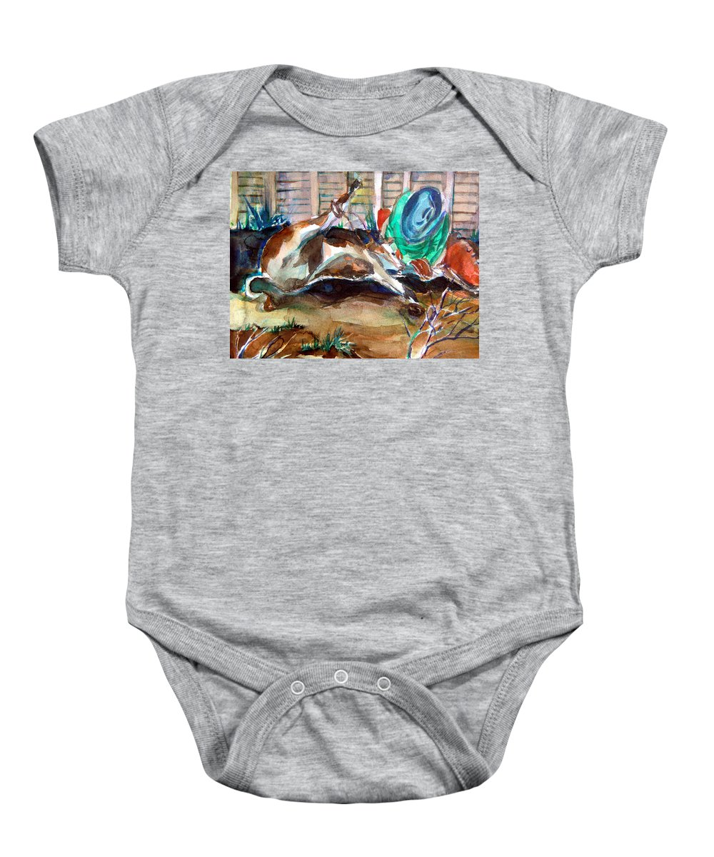 Cowboy Baby Onesie featuring the painting Calf Roping by Mindy Newman