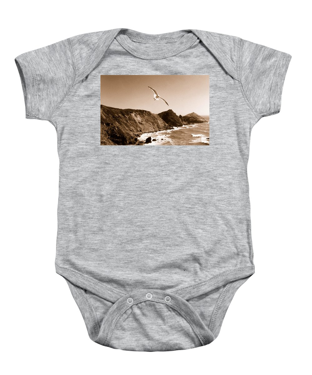 Seagull Baby Onesie featuring the photograph Cali Seagull by Trish Hale