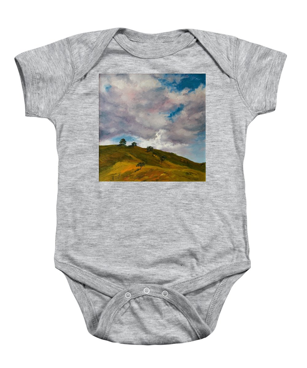 Sky Baby Onesie featuring the painting California Hills by Rick Nederlof