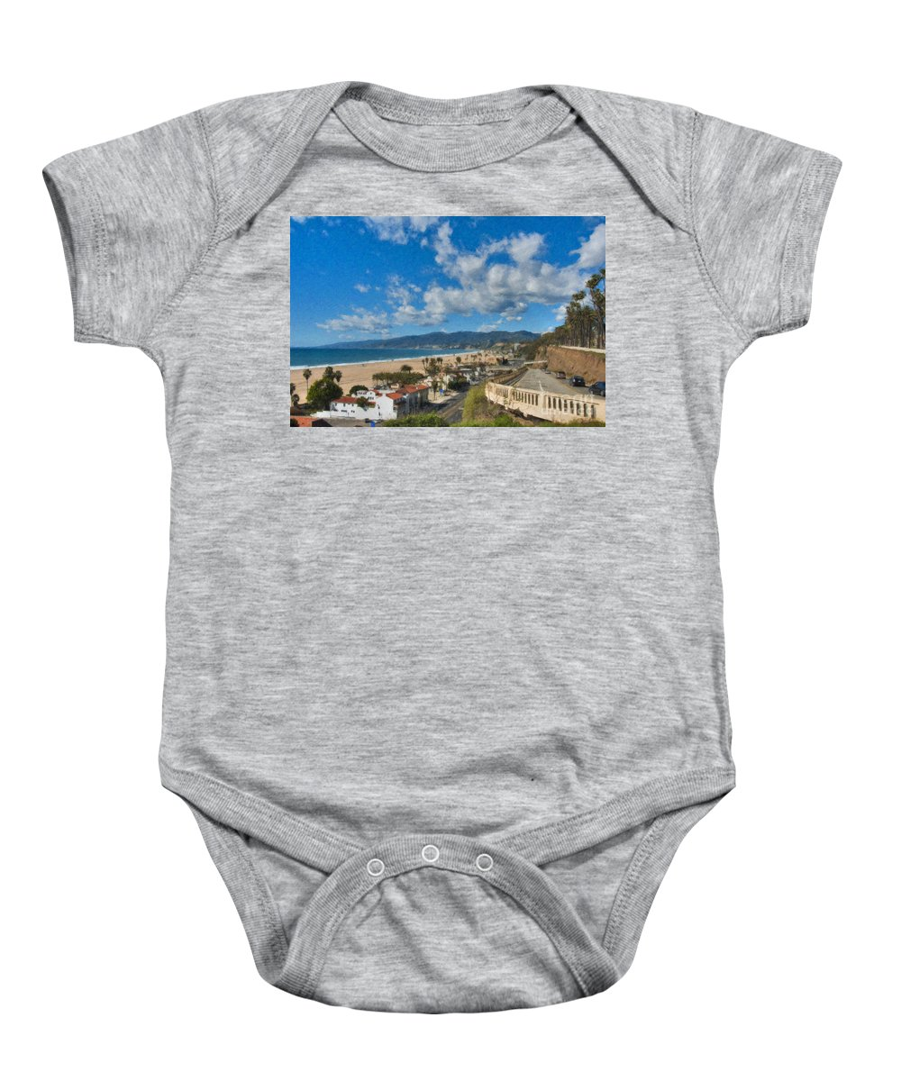 California Incline Palisades Park Ca Baby Onesie featuring the photograph California Incline Palisades Park Ca by David Zanzinger