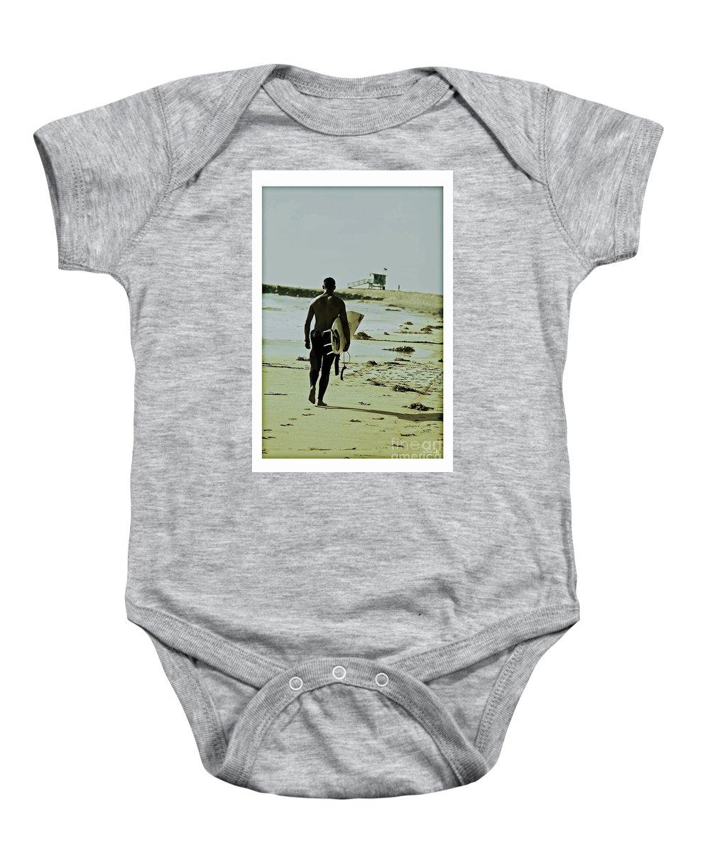 Surfer Baby Onesie featuring the photograph California Surfer by Scott Pellegrin