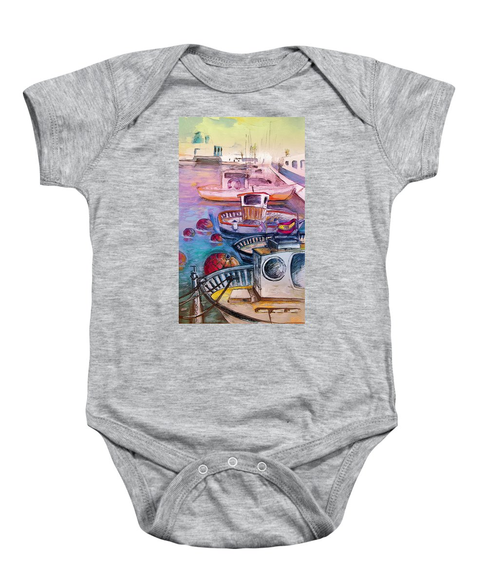 Calpe Baby Onesie featuring the painting Calpe Harbour 03 by Miki De Goodaboom