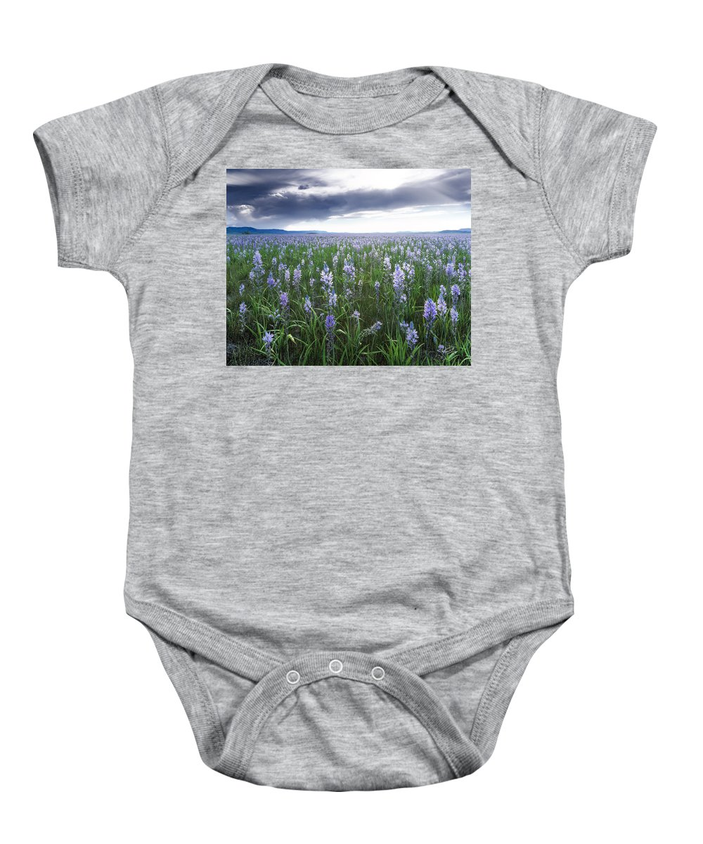 Beautiful Baby Onesie featuring the photograph Camas Marsh 2 by Leland D Howard