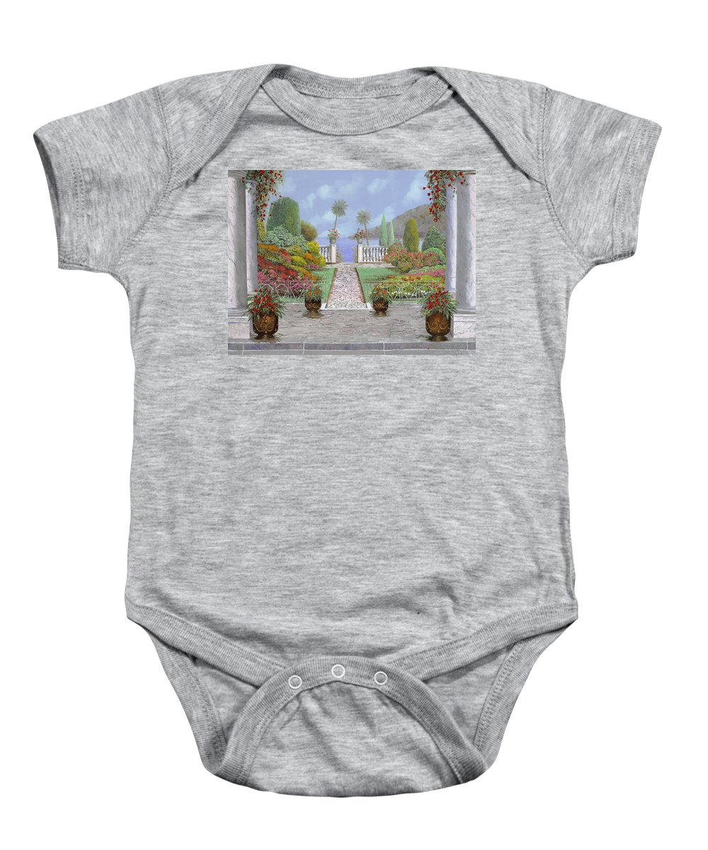 Lake Baby Onesie featuring the painting Camminando Verso Il Lago by Guido Borelli