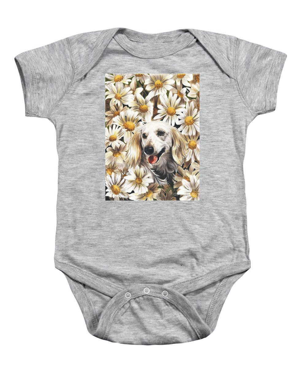 Dachshund Baby Onesie featuring the drawing Camoflaged by Barbara Keith