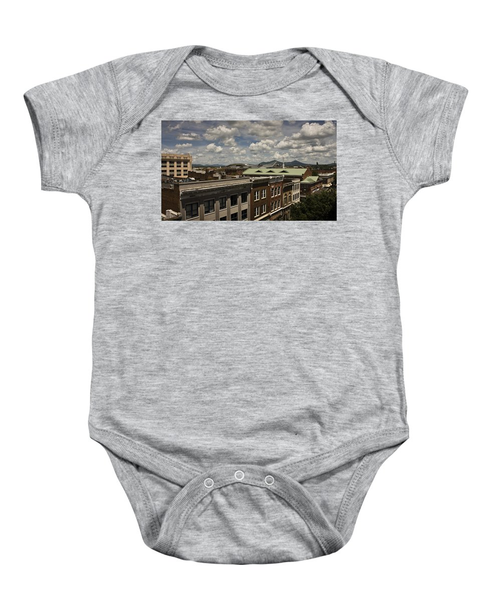 Cityscape Baby Onesie featuring the photograph Campbell Avenue Rooftops Roanoke Virginia by Teresa Mucha