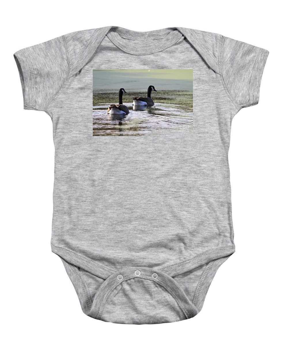 Animal Baby Onesie featuring the photograph Canada Geese by Teresa Zieba