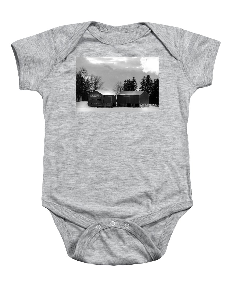 B&w Baby Onesie featuring the photograph Canadian Farm by Anthony Jones