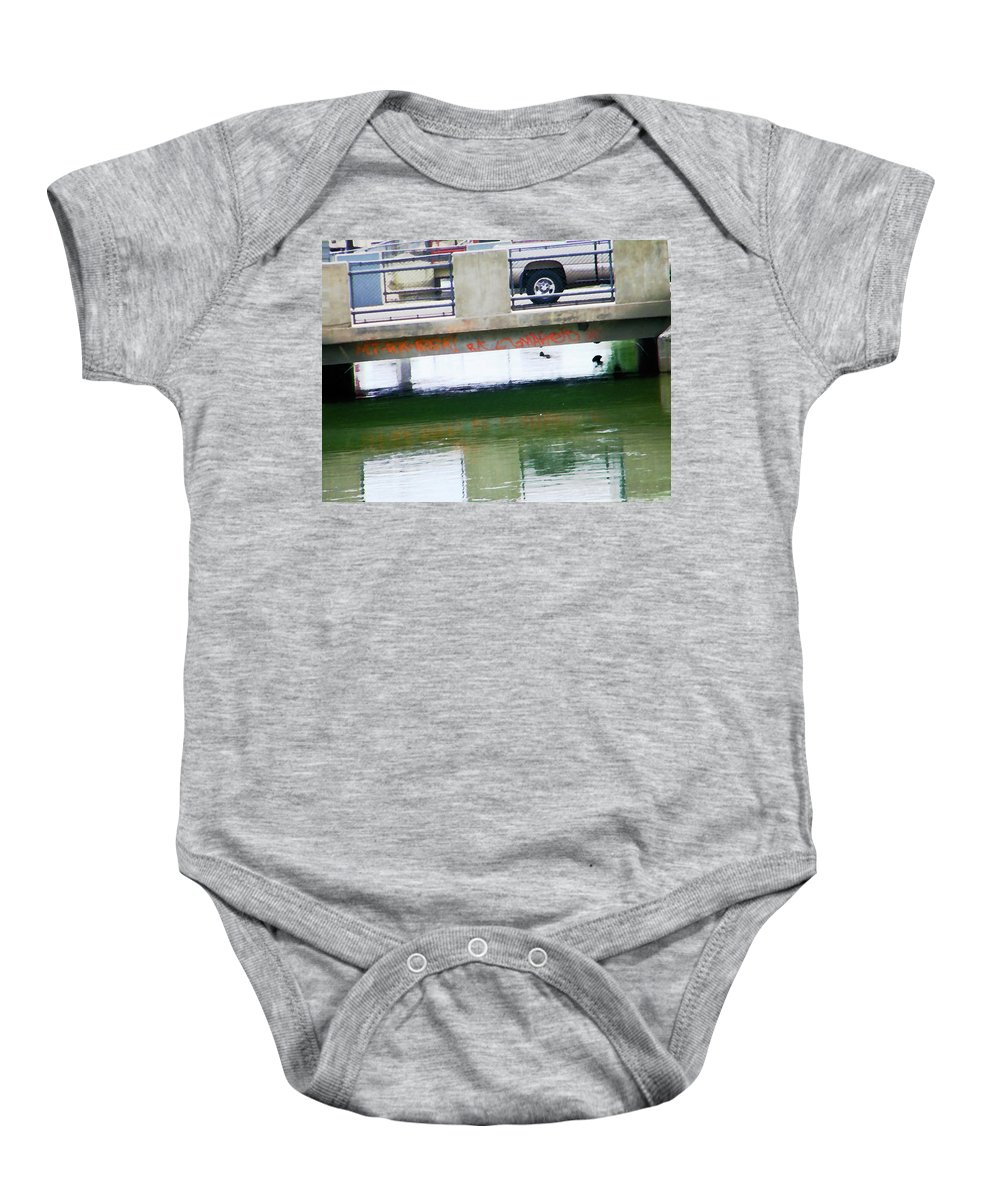 Abstract Baby Onesie featuring the photograph Canal 4-3 by Lenore Senior