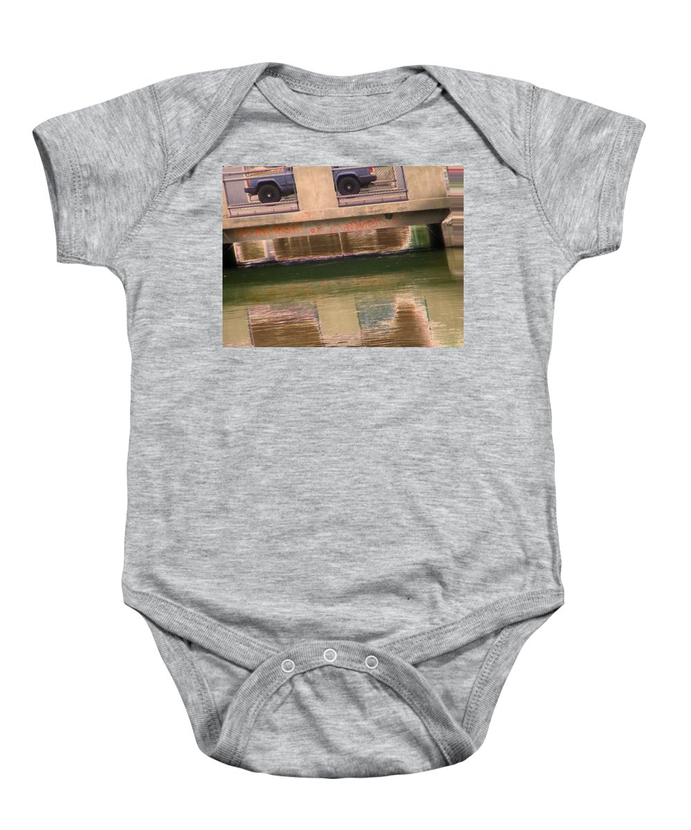 Abstract Baby Onesie featuring the photograph Canal 5-3 by Lenore Senior
