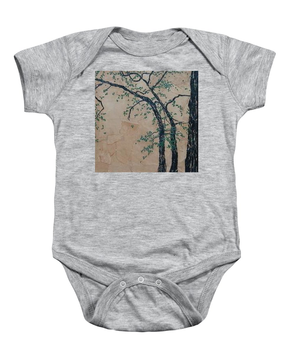 Leafy Tree Baby Onesie featuring the painting Canandaigua Lake by Leah Tomaino