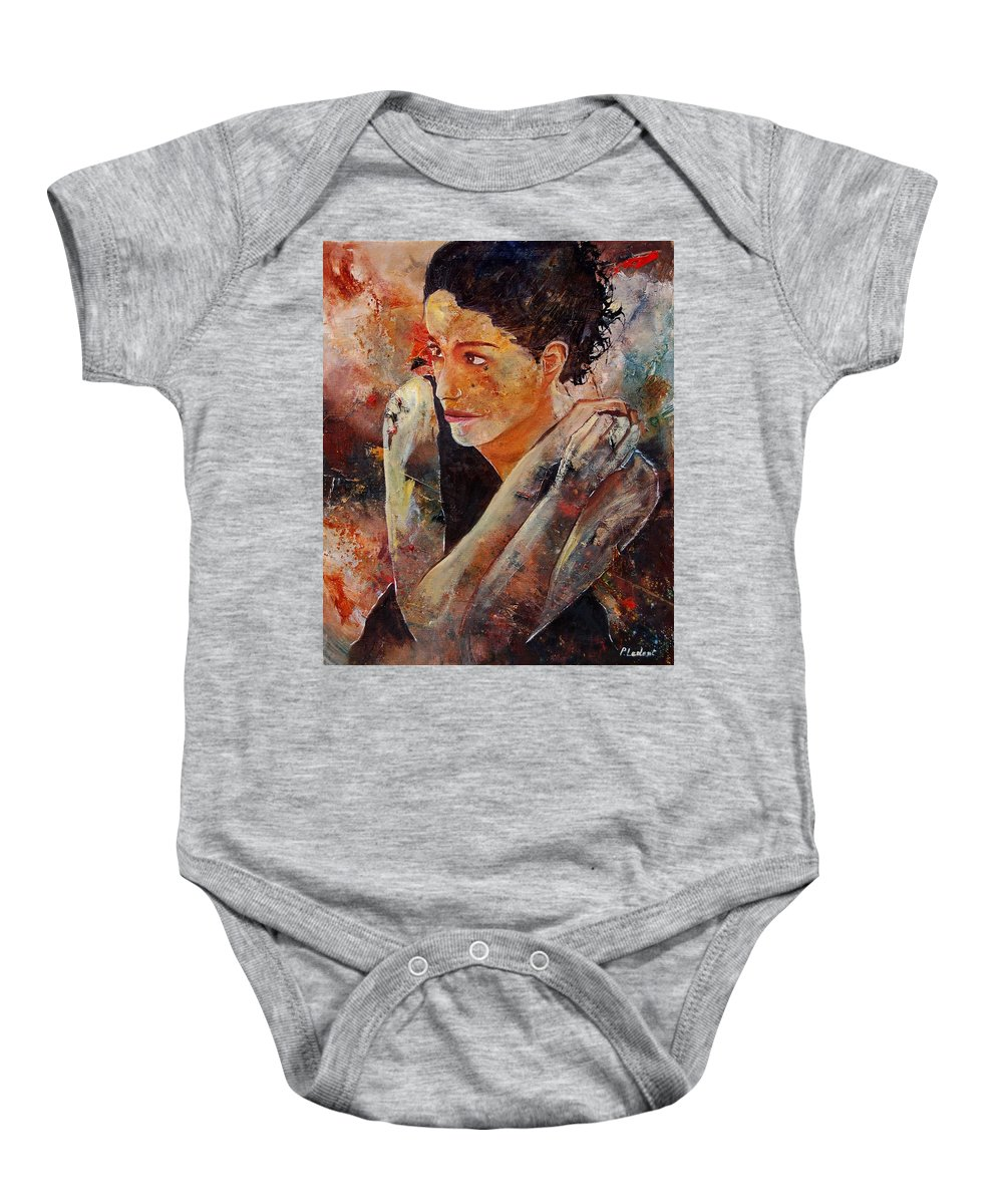 Figurative Baby Onesie featuring the painting Candid Eyes by Pol Ledent