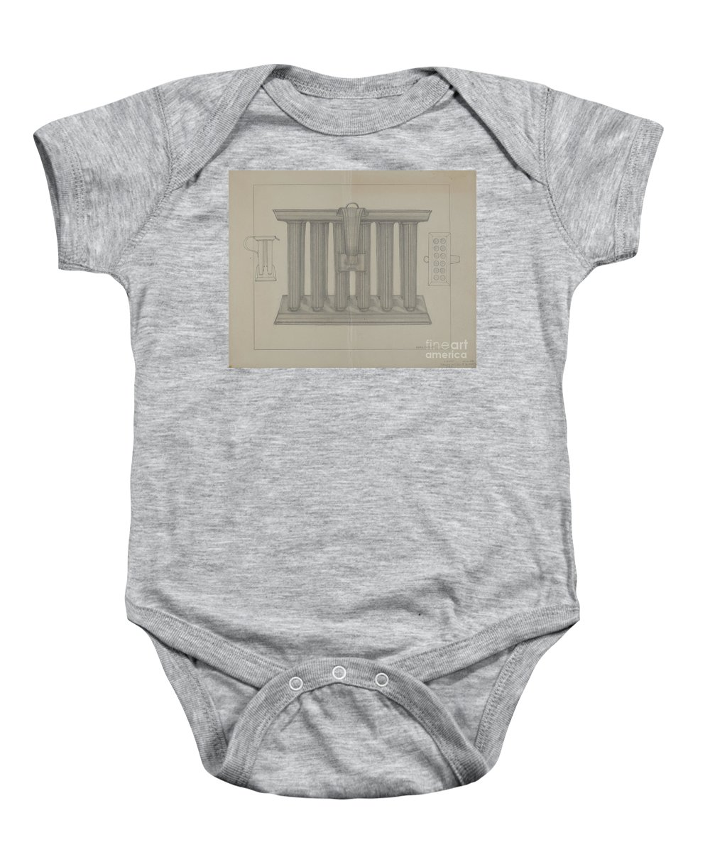 Baby Onesie featuring the drawing Candle Mold by Marie Famularo