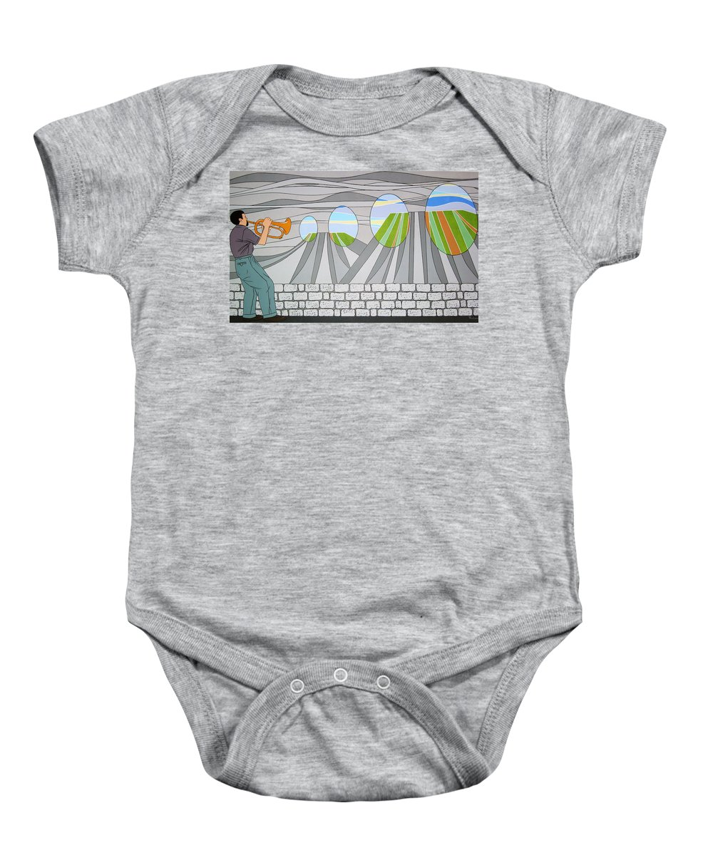 Trumpet Baby Onesie featuring the painting Candy Lips by Patricia Van Lubeck