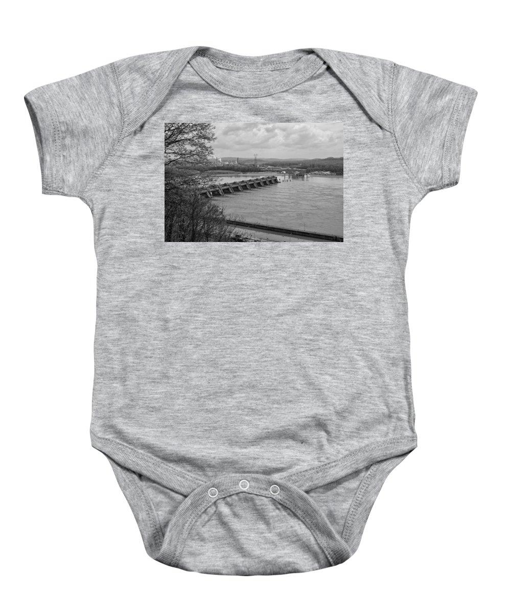 Cannelton Locks And Dam Baby Onesie featuring the photograph Cannelton Locks And Dam by Sandy Keeton
