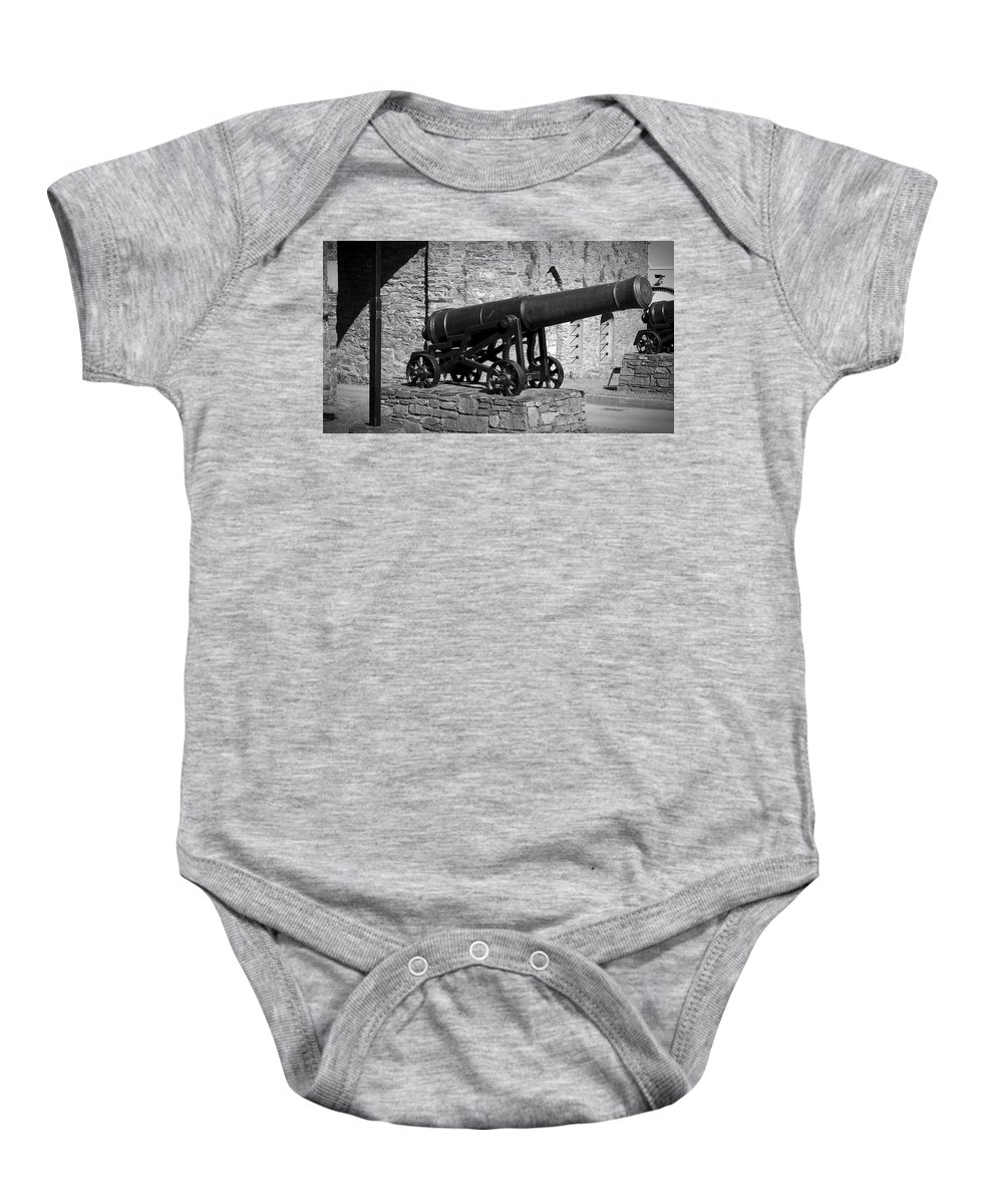 Irish Baby Onesie featuring the photograph Cannon At Macroom Castle Ireland by Teresa Mucha