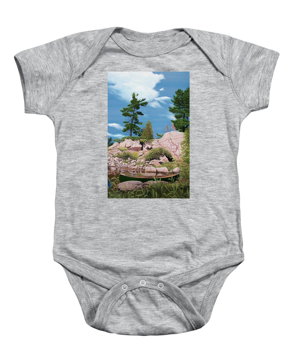 Landscapes Baby Onesie featuring the painting Canoe Among The Rocks by Kenneth M Kirsch
