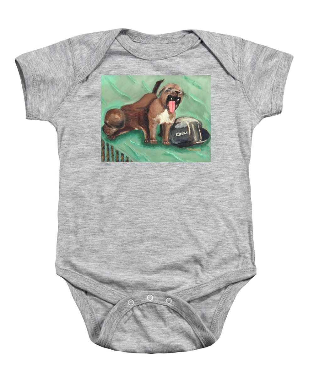 Dogs Baby Onesie featuring the painting Canon Pups by Terry Lewey