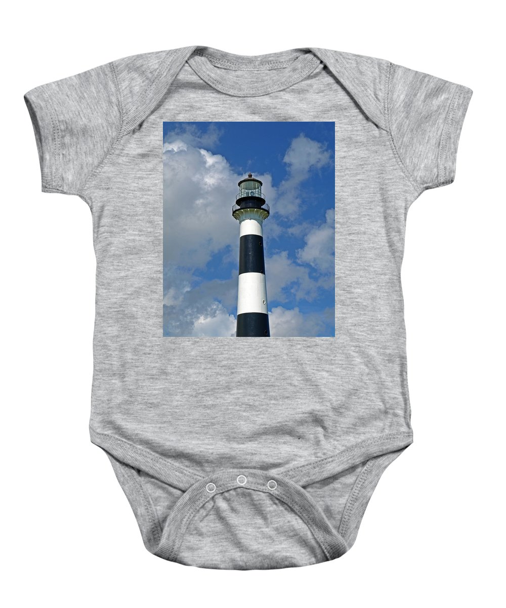 Lighthouse; Light; Canaveral; Cape; Cape Canaveral; Ccafs; Florida; East; Coast; Kennedy; Space; Cen Baby Onesie featuring the photograph Canveral Light Florida by Allan Hughes