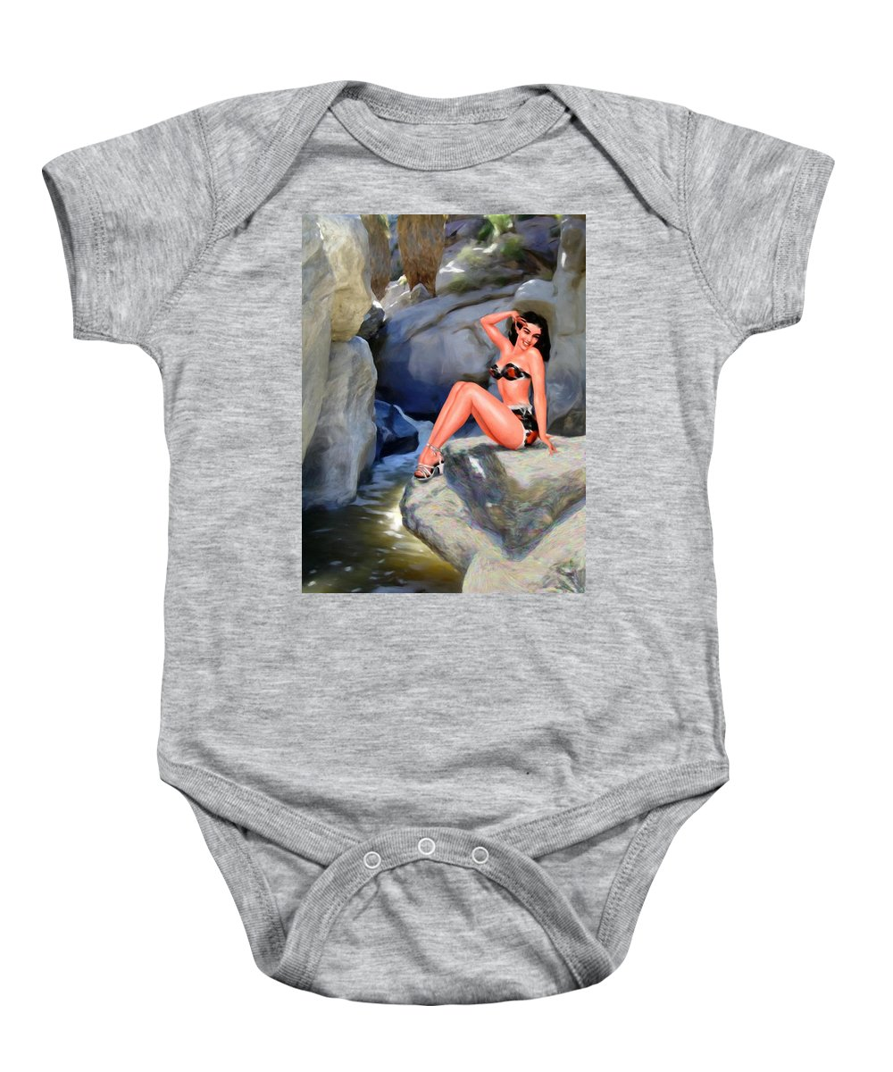 Landscape Baby Onesie featuring the digital art Canyon Girl by Snake Jagger