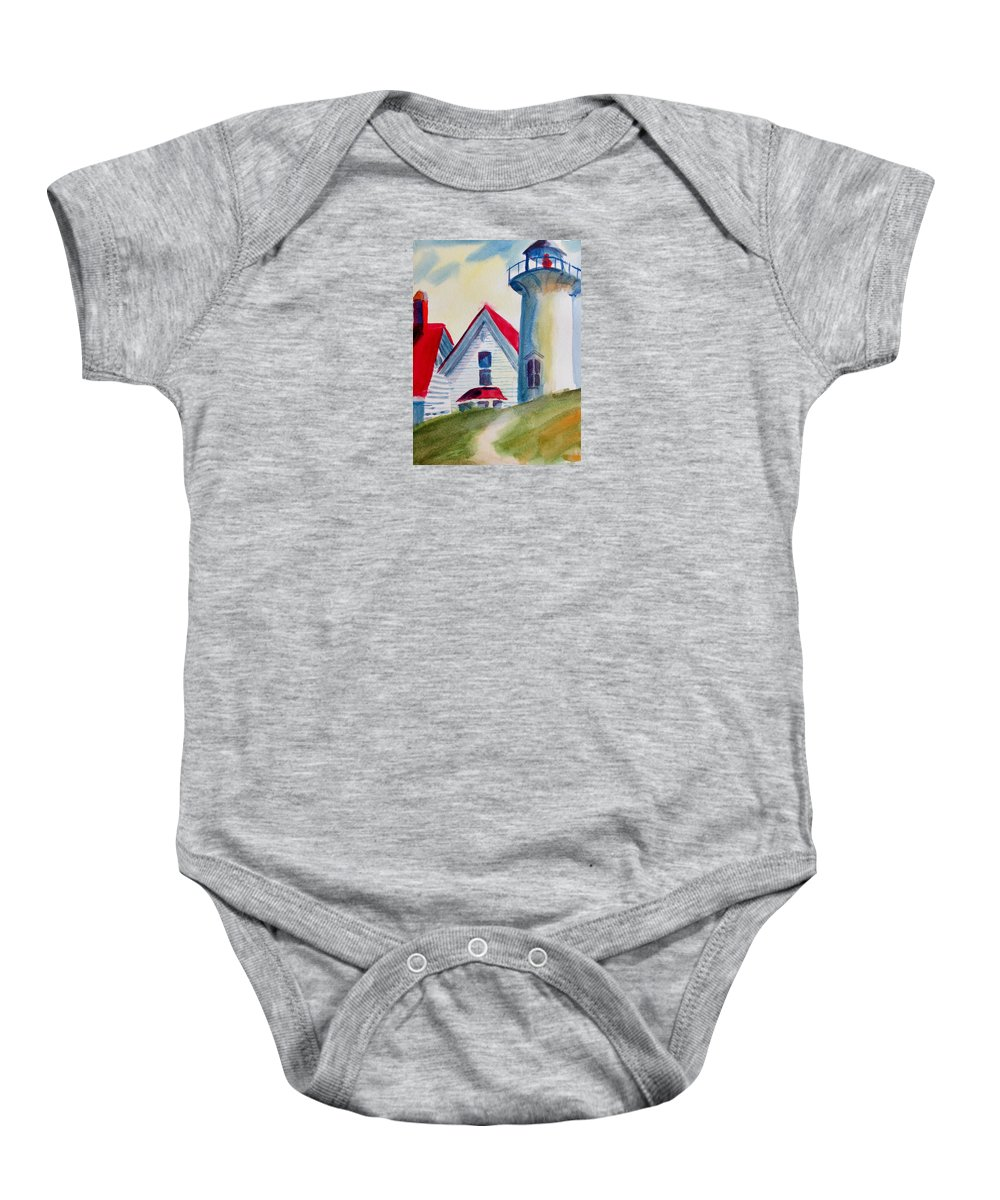 Cape Cod Light House Baby Onesie featuring the painting Cape Cod Light House by Linda Emerson
