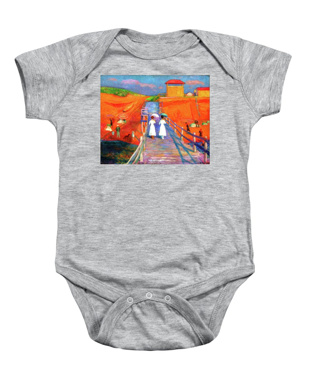 Beach Baby Onesie featuring the painting Cape Code Pier by D Fessenden