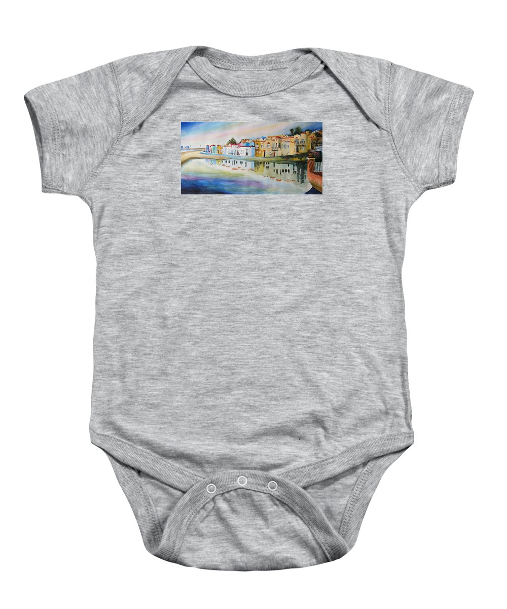 Capitola Baby Onesie featuring the painting Capitola by Karen Stark