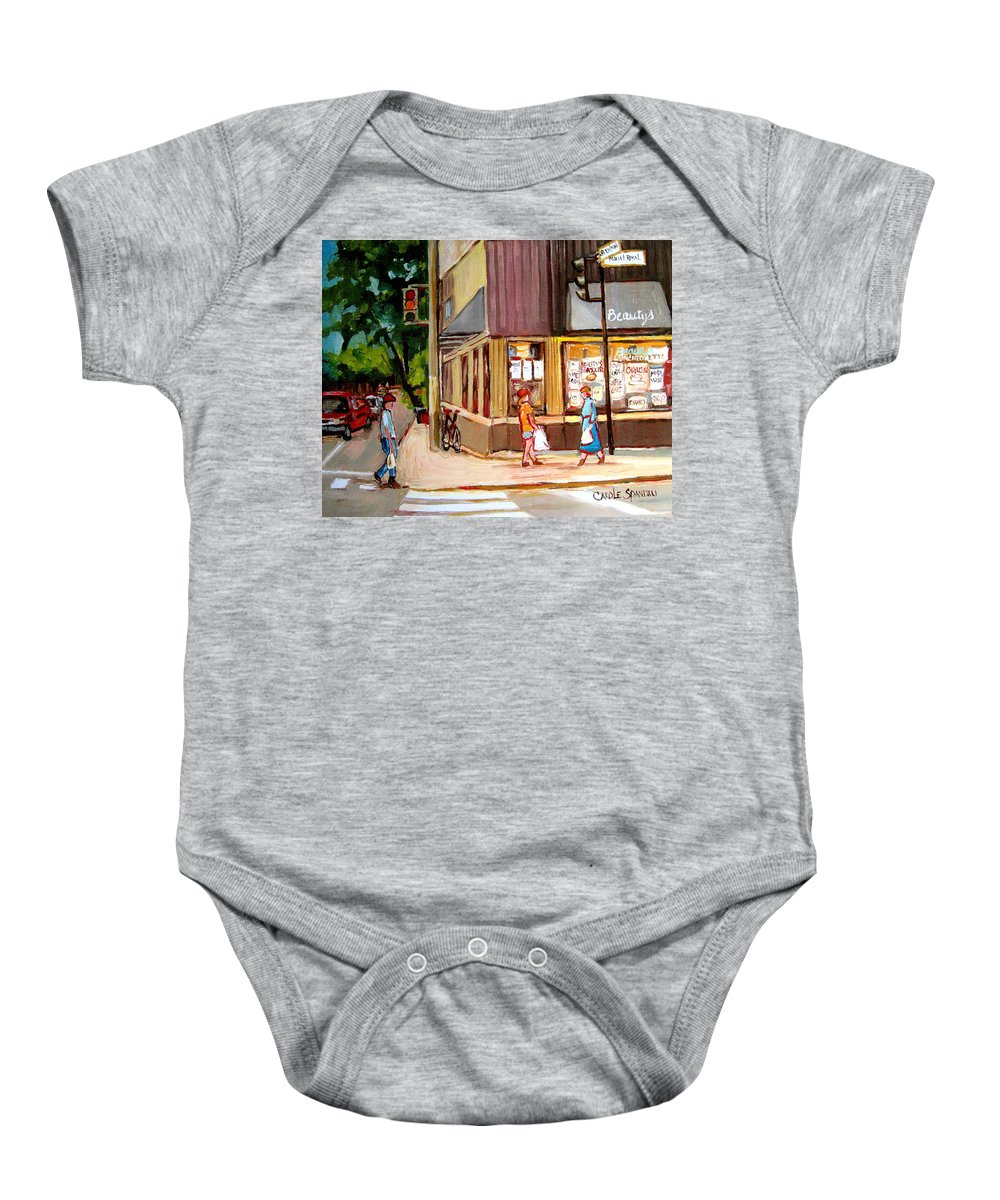 Cafes Baby Onesie featuring the painting Cappucino Cafe At Beauty's Restaurant by Carole Spandau