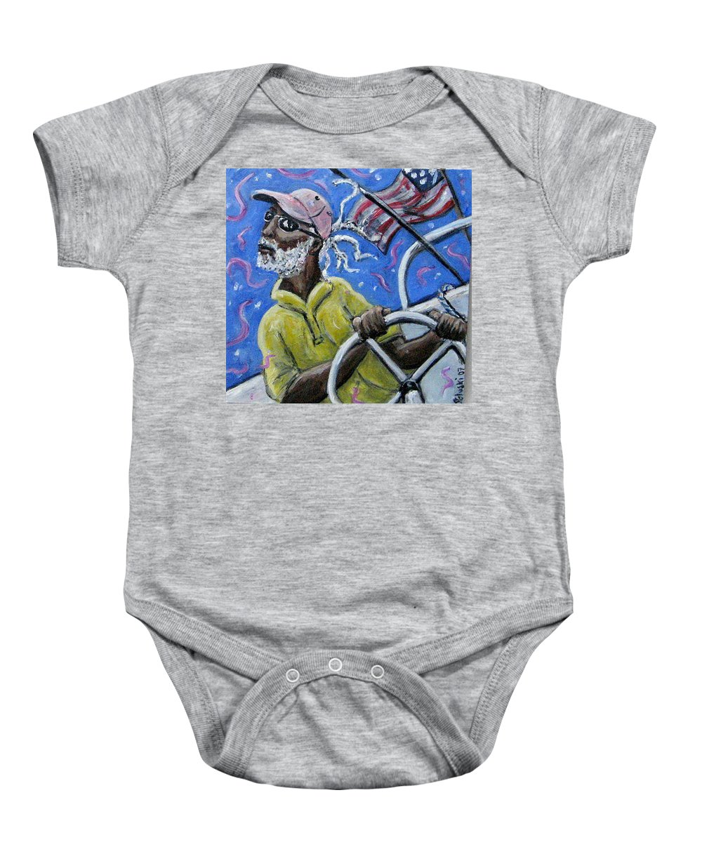 Sailor Sail Boat Black Man Flag Cape Cod Baby Onesie featuring the painting Captin Percy by Jason Gluskin
