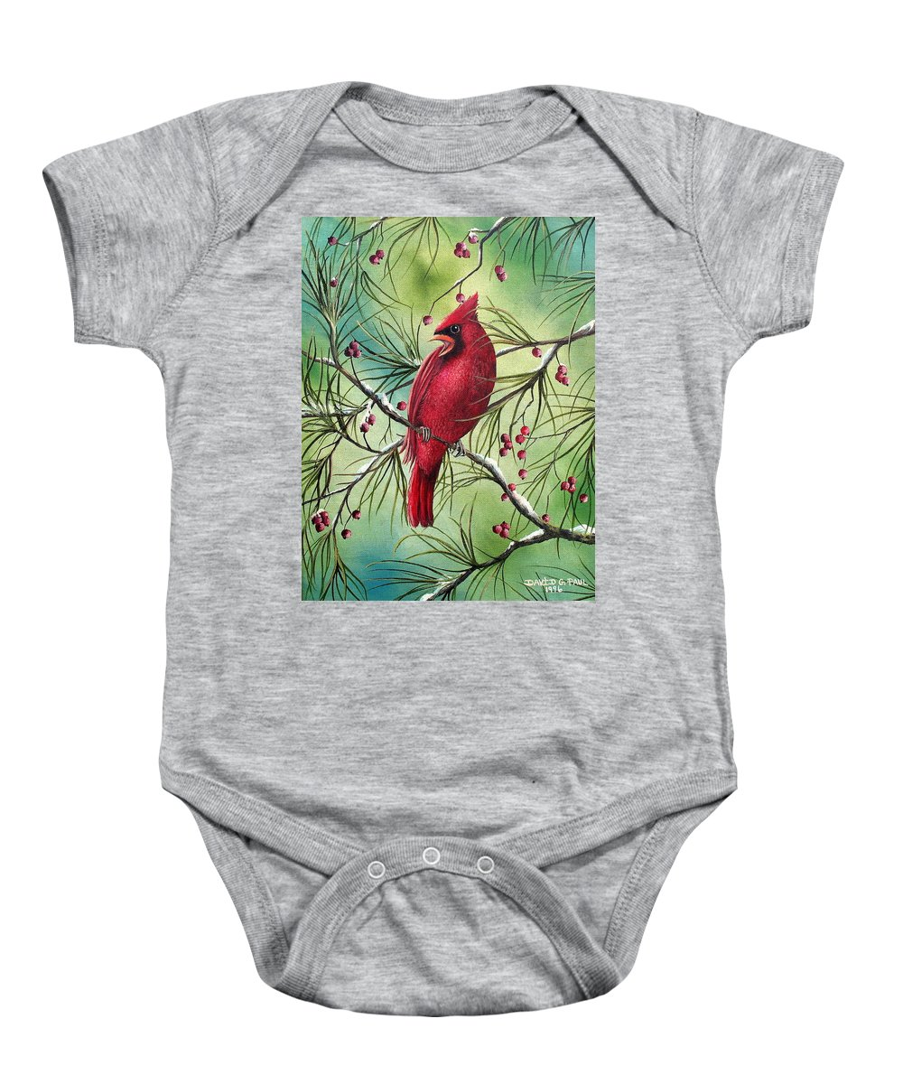 Cardinal Baby Onesie featuring the painting Cardinal by David G Paul