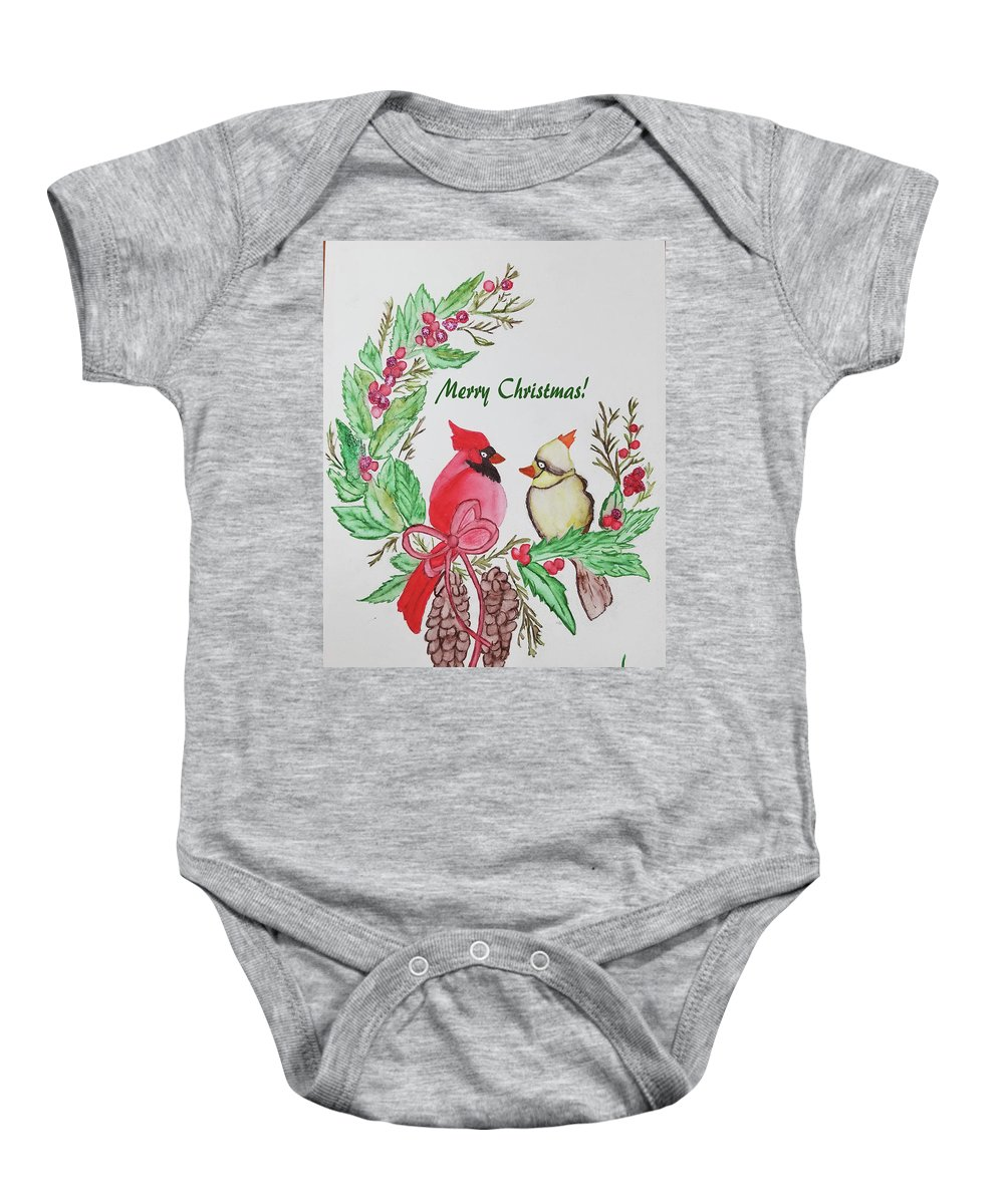 Baby Onesie featuring the photograph Cardinals Painted By Debbie Woodrow by Debbie Woodrow