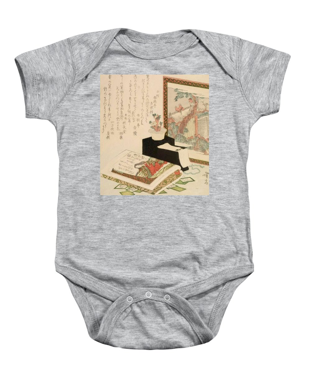 Cards Baby Onesie featuring the painting Cards Fukujuso Flowers And Screen by Eisen Keisai