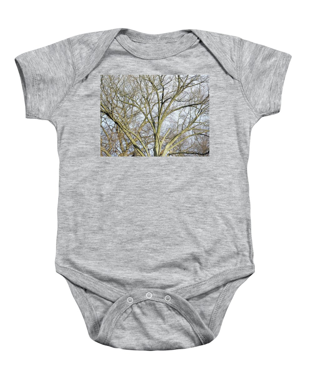 Tree Baby Onesie featuring the photograph Caressing The Sky by Mother Nature