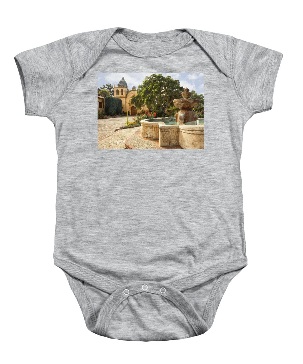 Mission Baby Onesie featuring the digital art Carmel Church And Fountain by Sharon Foster