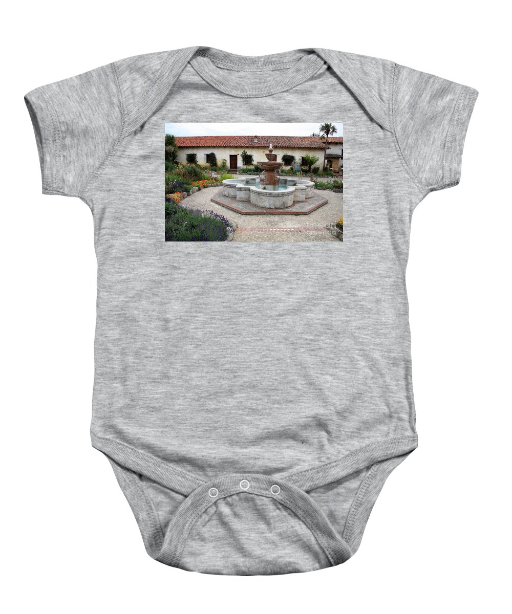 Catholic Baby Onesie featuring the photograph Carmel Mission Courtyard by Carol Groenen