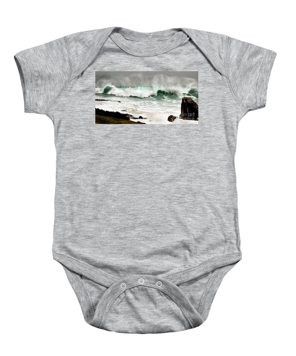 Seascapes Baby Onesie featuring the photograph Carmel Wave Rock by Norman Andrus