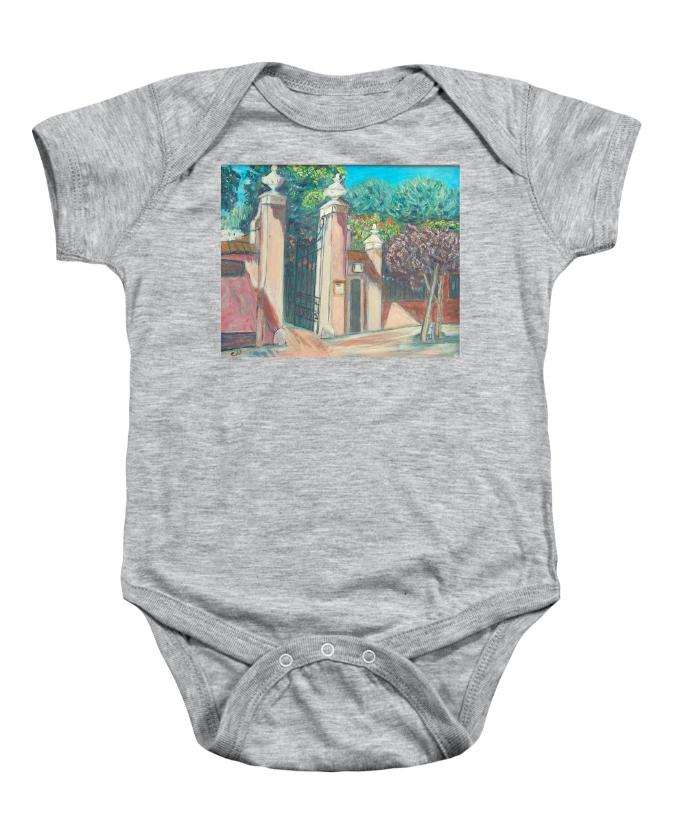 Carmelite Monastery Baby Onesie featuring the painting Carmelite Monastery by Carolyn Donnell