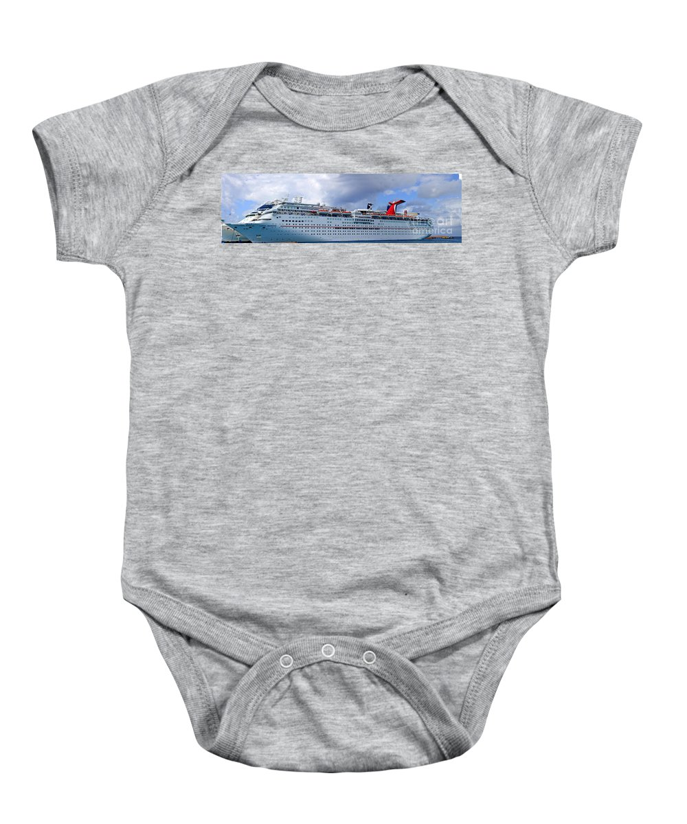 Carnival Baby Onesie featuring the photograph Carnival Cruise Ship by Thomas Marchessault