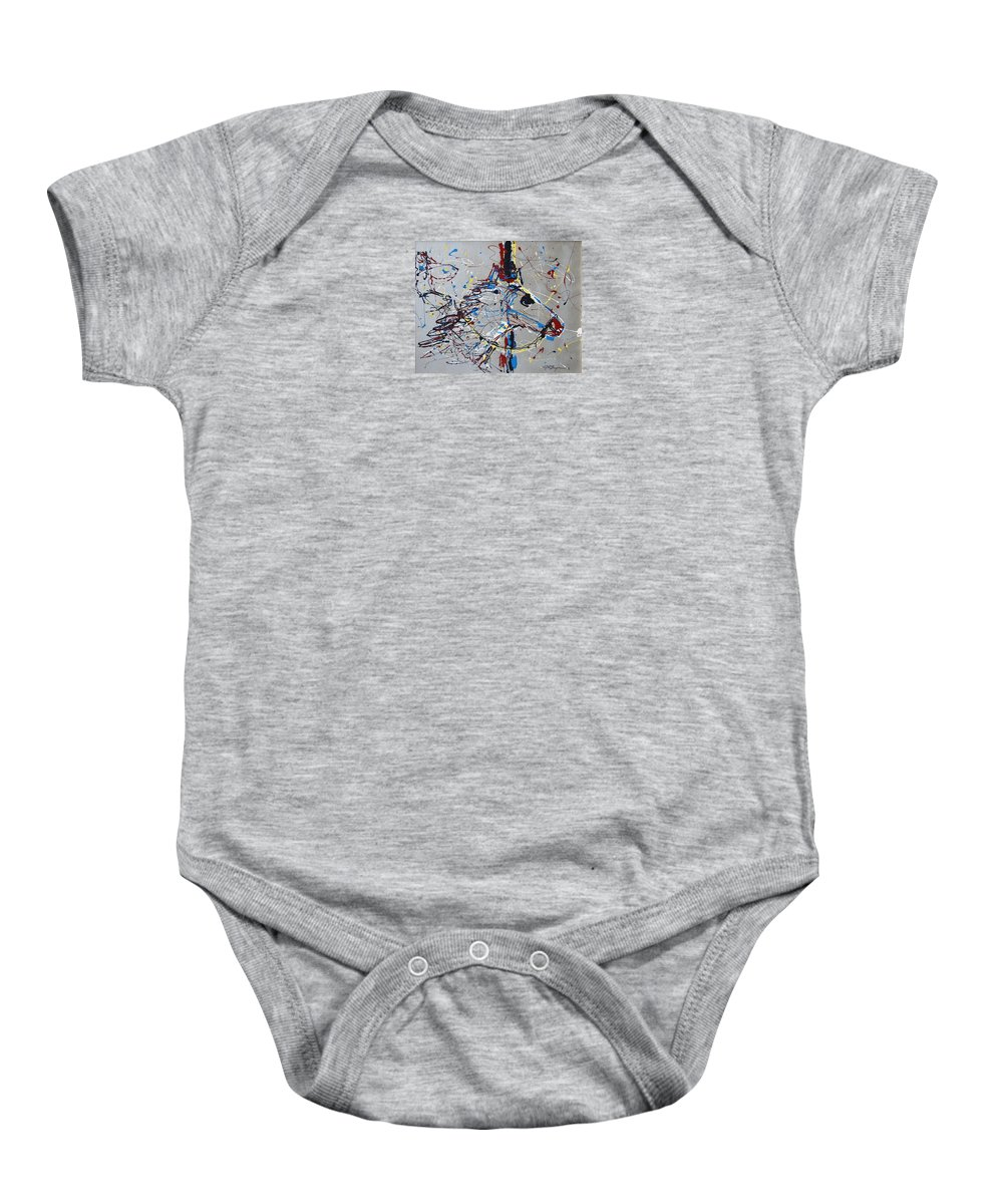 Carousel Horse Baby Onesie featuring the mixed media Carousel Horse by J R Seymour