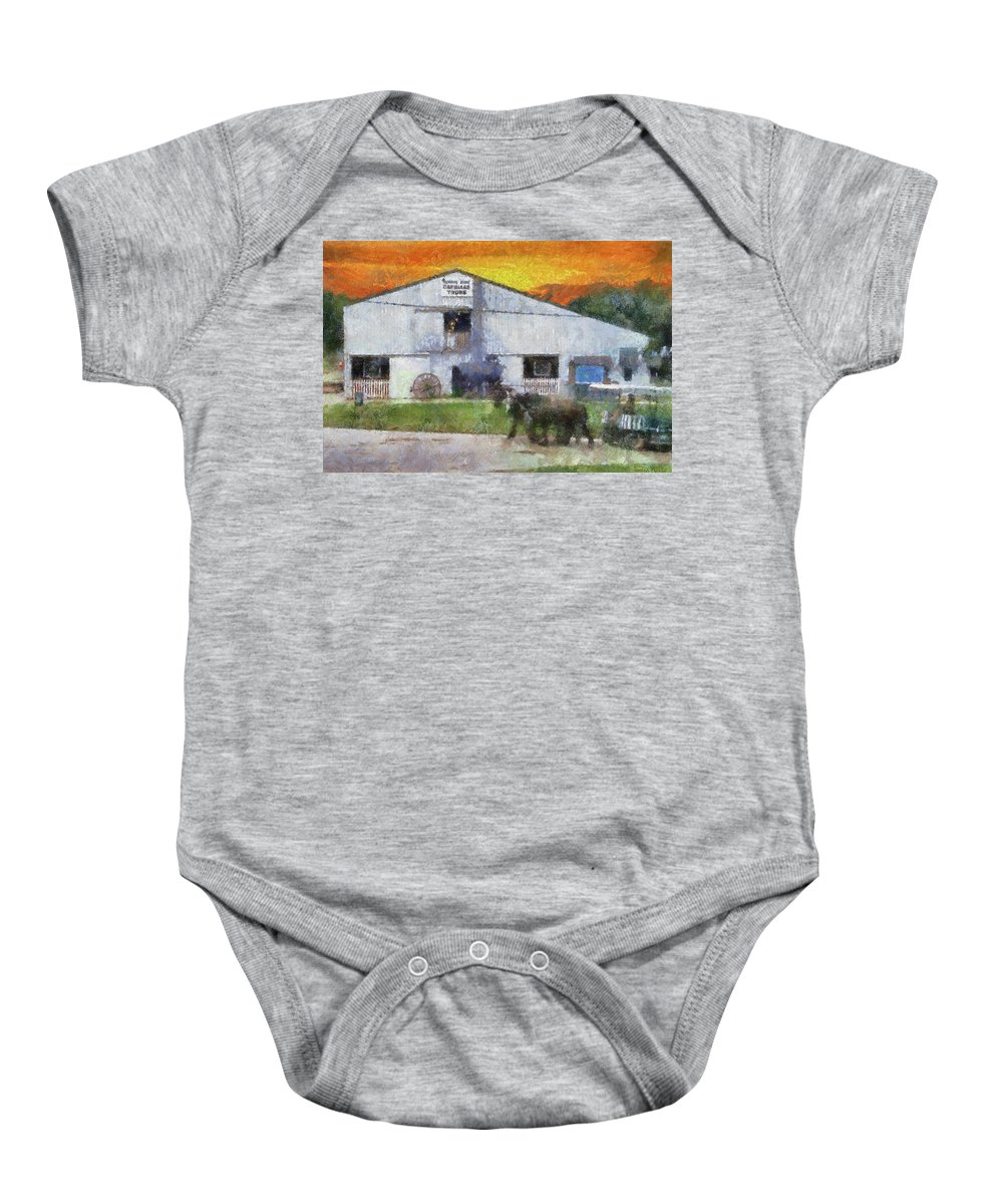 Mackinac Baby Onesie featuring the mixed media Carriage Tour Mackinac Island Upper Peninsula Michigan Pa 01 by Thomas Woolworth