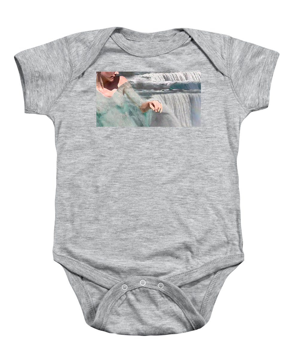 Waterscape Baby Onesie featuring the digital art Cascade by Steve Karol