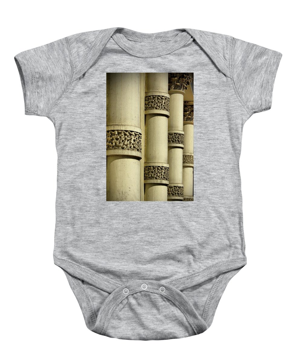 Cast Iron Baby Onesie featuring the photograph Cast Iron Columns by Cate Franklyn
