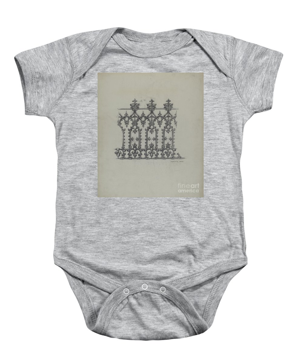 Baby Onesie featuring the drawing Cast Iron Fence by Charlotte Angus