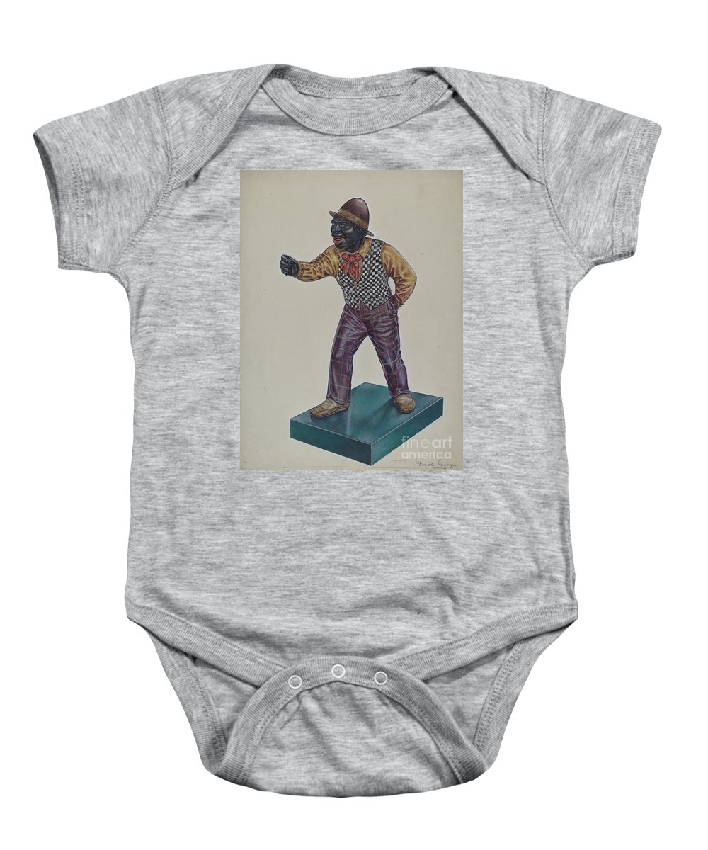 Baby Onesie featuring the drawing Cast Iron Hitching Post by David Ramage