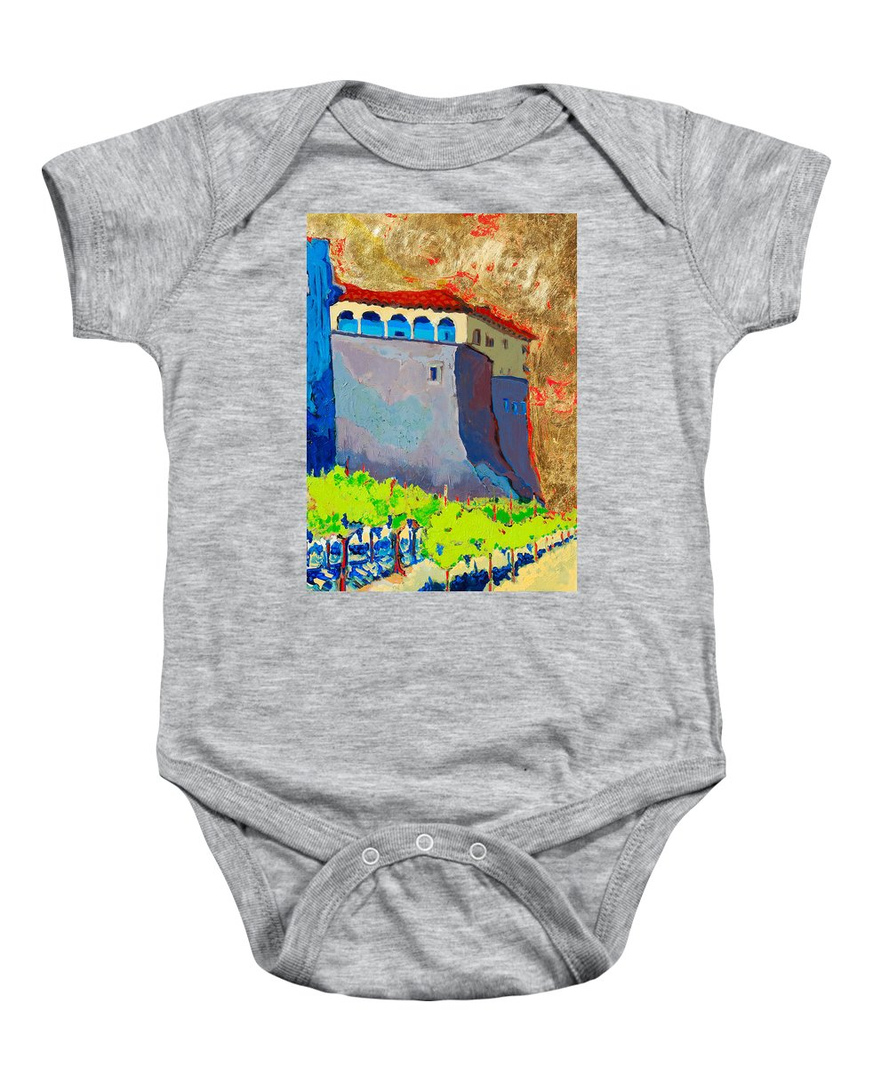 Castle Baby Onesie featuring the painting Castello Di Villafranca by Kurt Hausmann