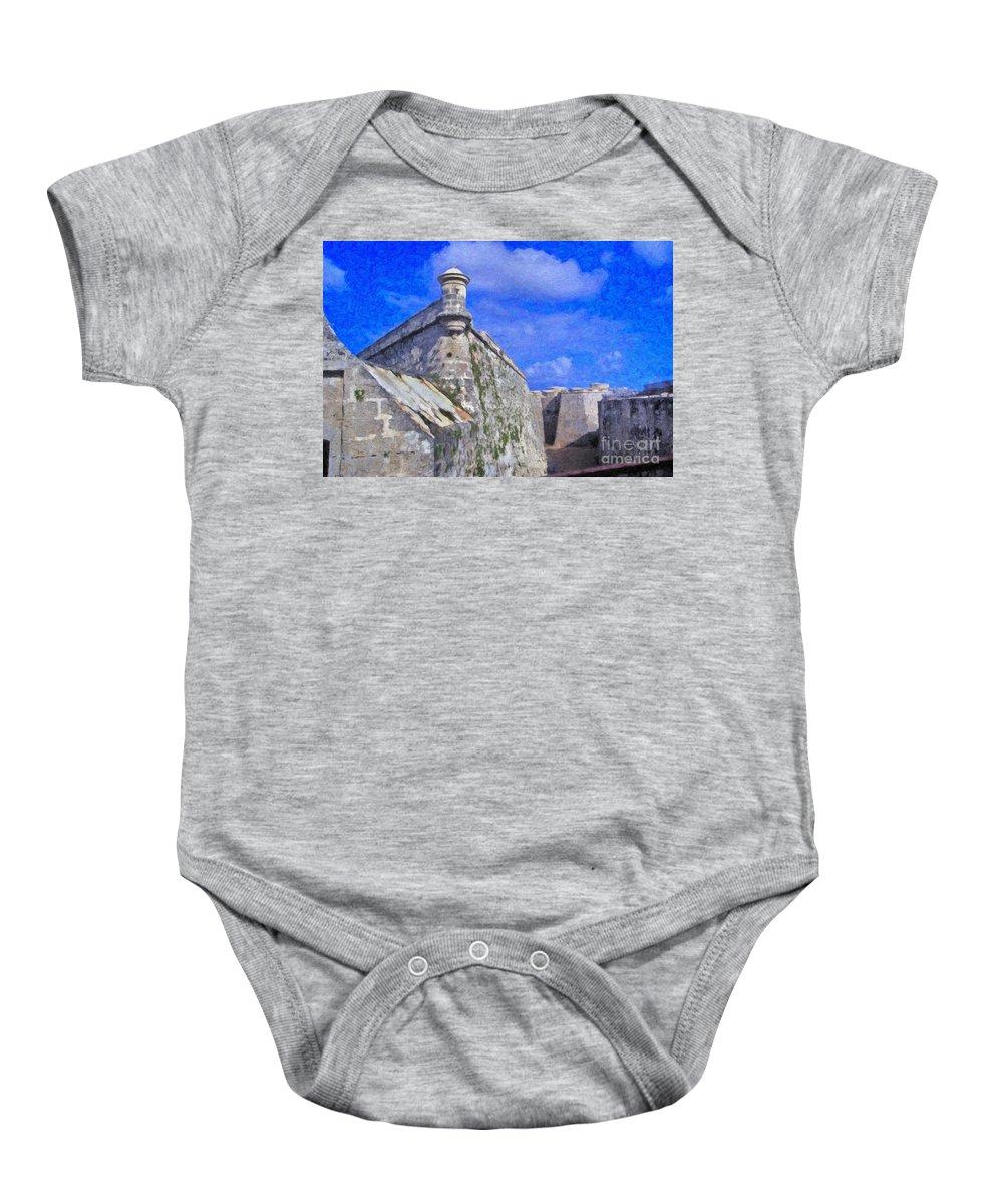Castillo El Morro- Havana Baby Onesie featuring the photograph Castillo El Morro Havana Cuba by David Zanzinger