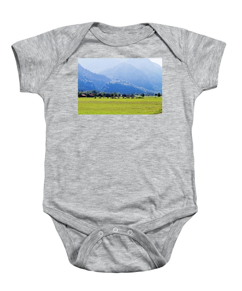 Neuschwanstein Baby Onesie featuring the photograph Castle And Cattle by Bernard Barcos